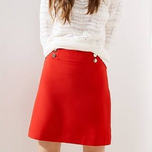 LOFT Shift Skirt with gold sailor buttons NWT | 16